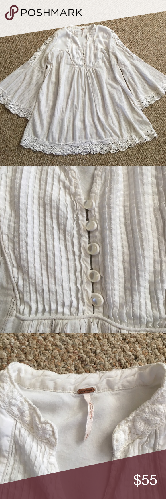 """Free People Bohemian Style Top Beautiful classic top. White with metallic threads. A lot going on with this. Bell sleeves crocheted on the ends. Crocheted as well on the upper arms and bottom hem. There is one spot I found where it will need repairing. It's a gauzy feel and the metallic threads are bubbling up throughout. I tried to capture that in a picture. Size small. 29"""" long. 21"""" pit to pit. Free People Tops Tunics"""