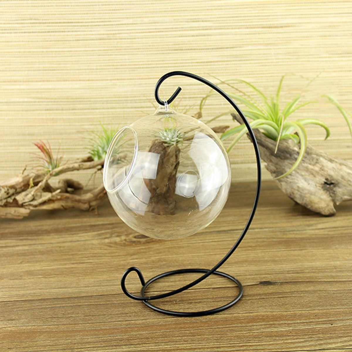 Click to buy ucuc glass ball hanging holder iron candlestick candle