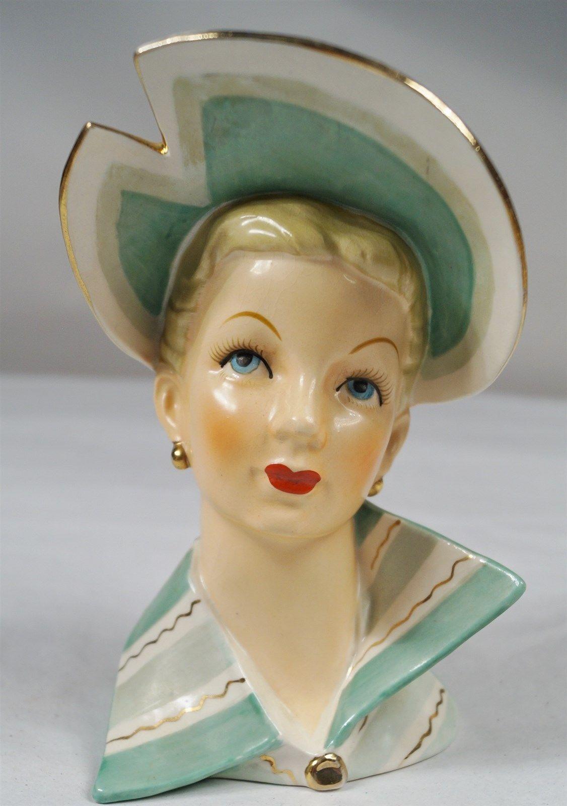 Vintage relpo porcelain elegant green dress hat fancy lady head vintage relpo porcelain elegant green dress hat fancy lady head vase reviewsmspy