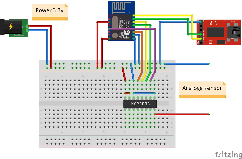 Dit voorbeeld laat zien hoe je de MCP3008 aansluit op een ESP8266 module, zodat je ook analoge sensoren kan gebruiken.
