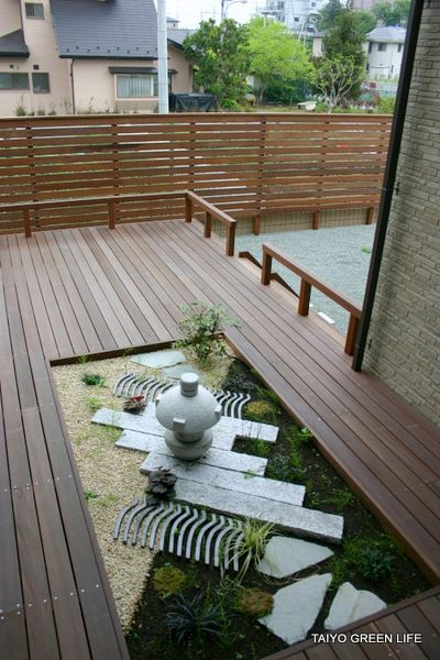 Wood deck japanese garden japanese garden pinterest for Balcony zen garden