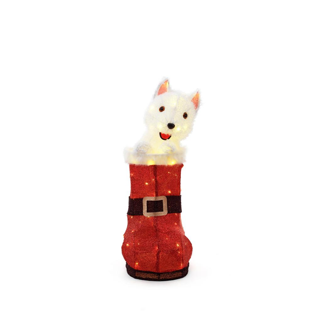 Home Accents Holiday 32 in. 80-Light LED Animated Tinsel Red Boot ...