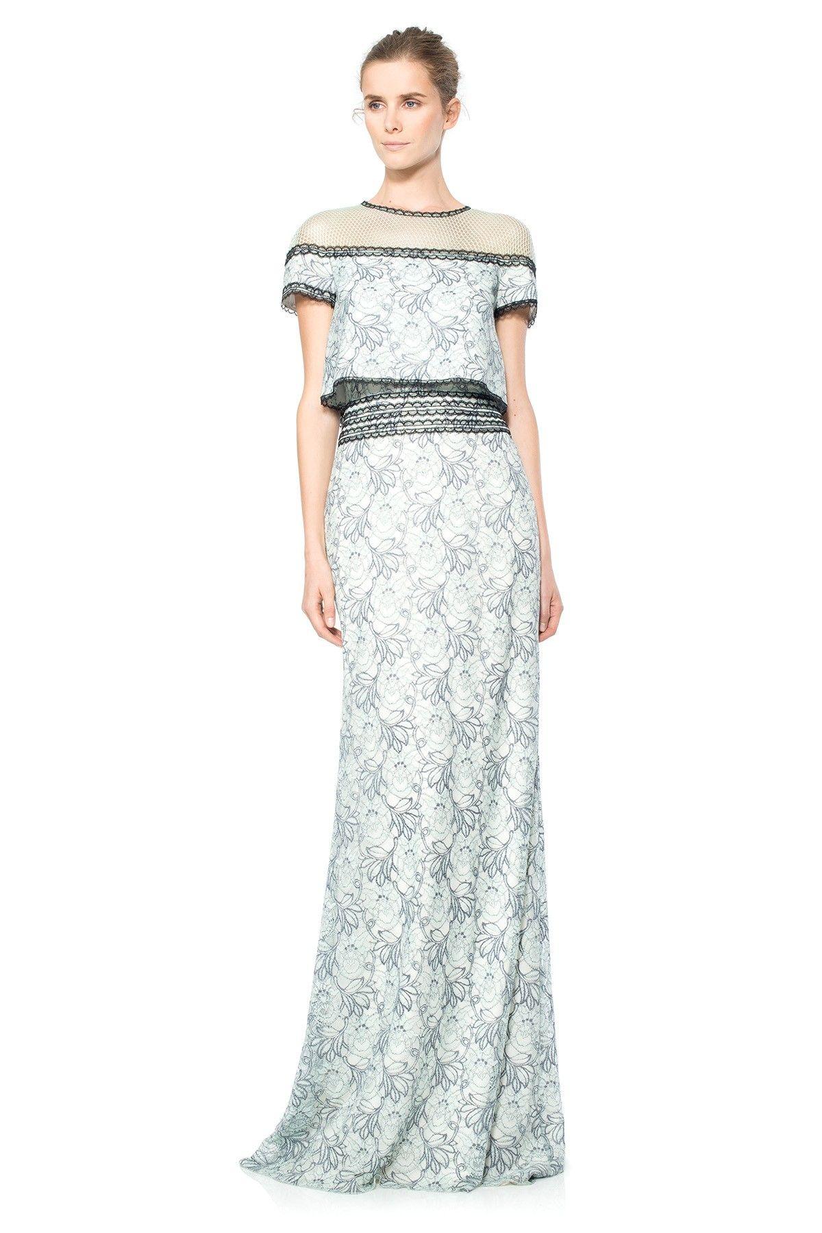 Tadashi shoji wedding guest dresses  Floral Chiffon Lace Crop Top Gown  Tadashi Shoji  Gown  Pinterest
