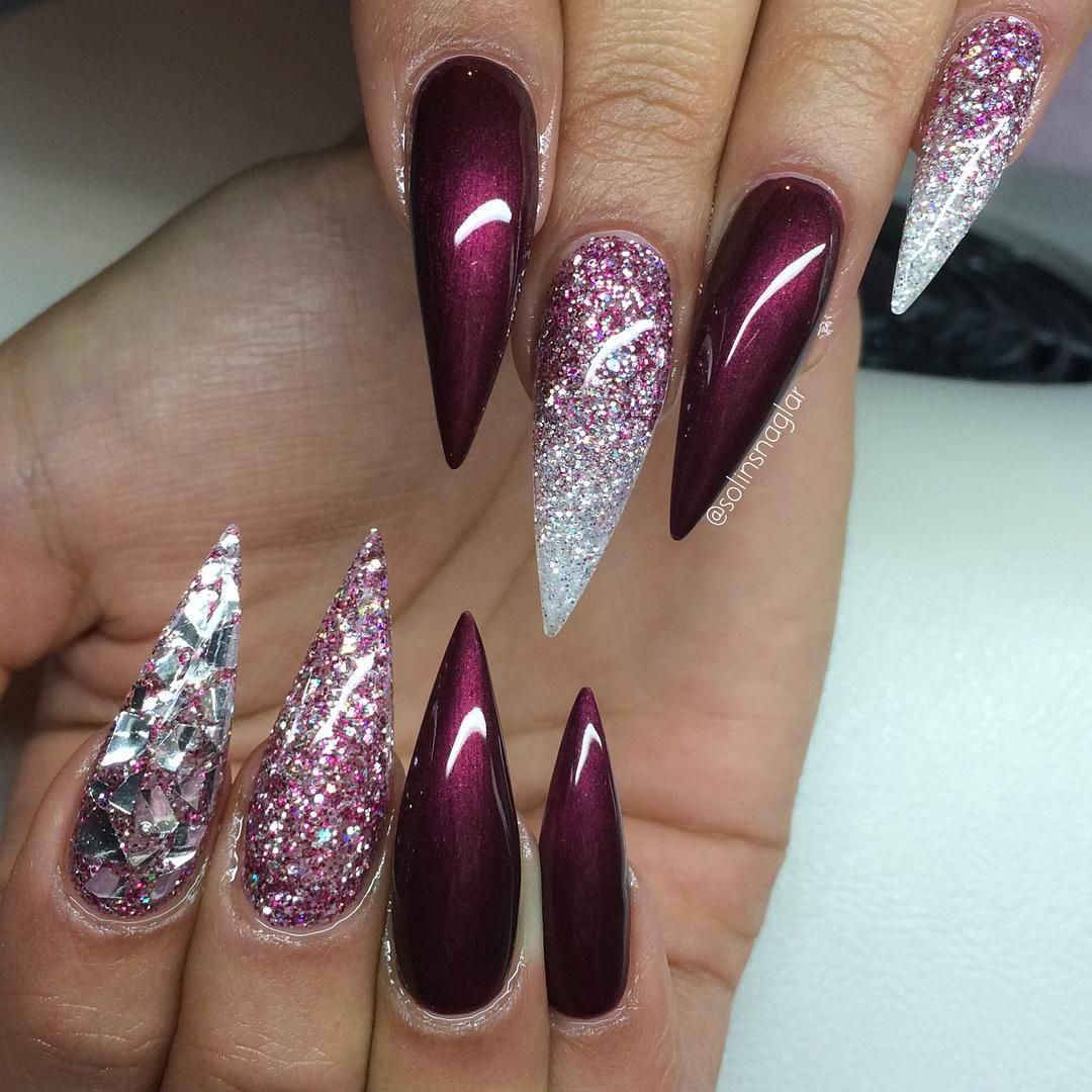 Burgundy And Silver Glitter Stiletto Nails Soooo Sparkly