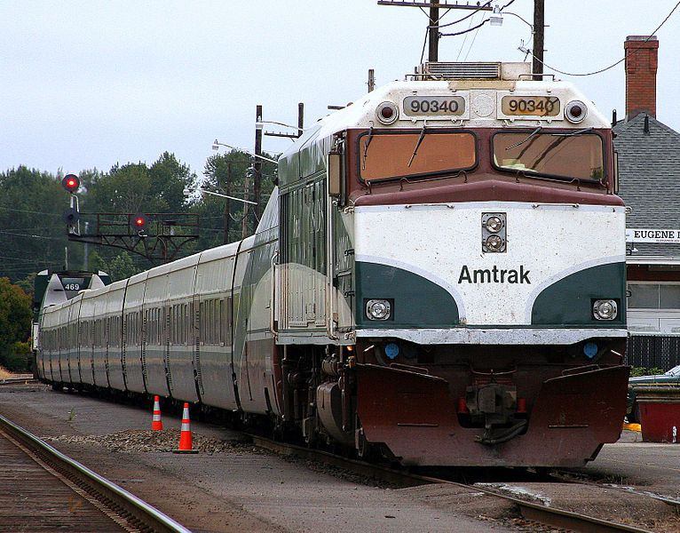 NPCU 90340 leads the Amtrak Cascades at Eugene, Oregon in