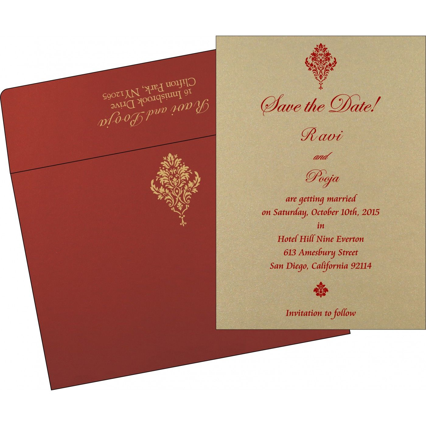 Shimmery damask themed - laser cut wedding invitations : in-1494 ...