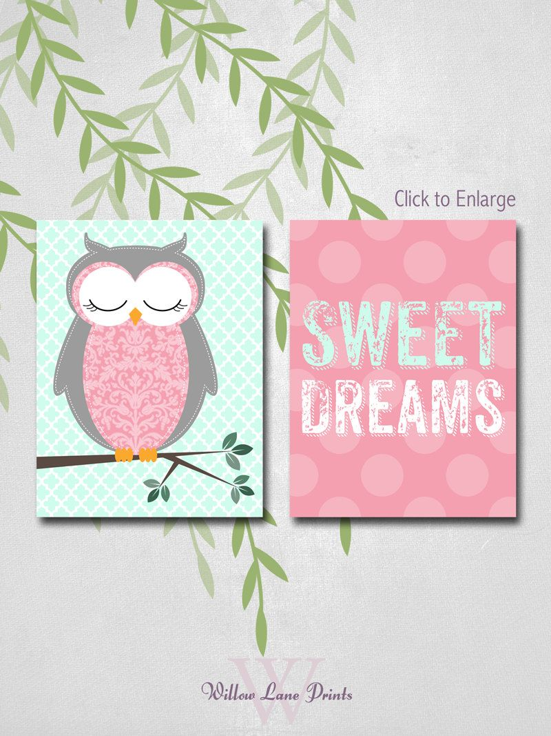 Owl themed nursery art prints or canvases in coral and mint gifts