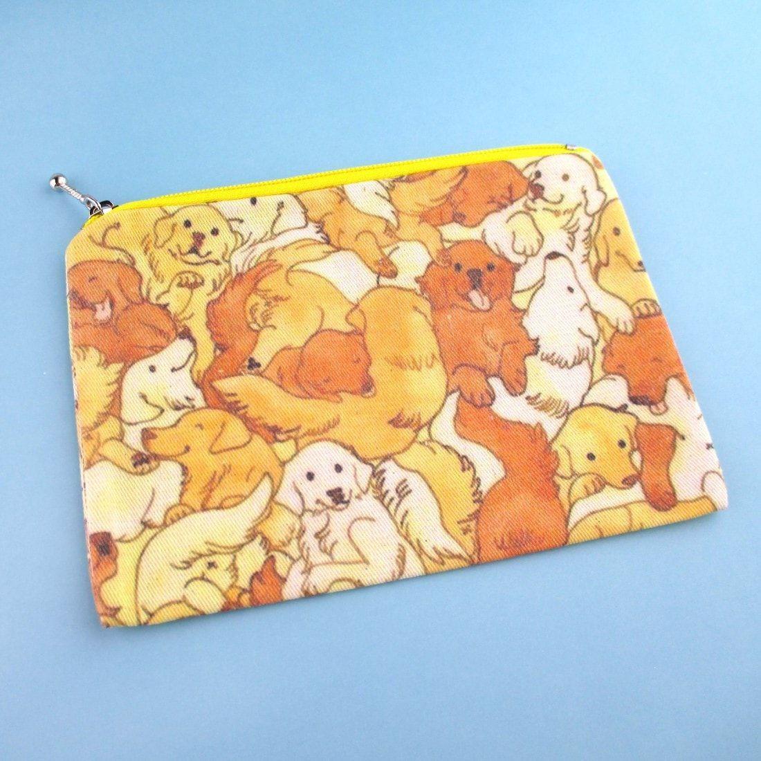Illustrated Golden Retriever Puppy Dog Collage Print Rectangular Make Up Bag