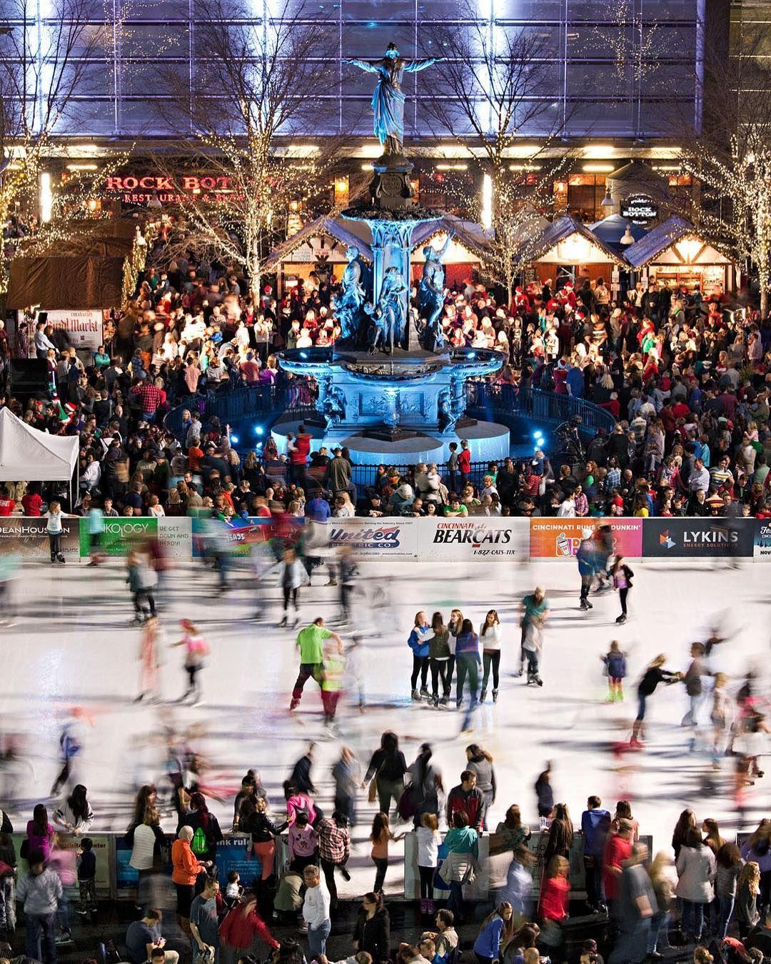Fountain square ice skating in cincinnati only 90 min