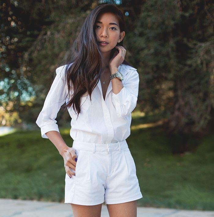 Stephanie Liu of Honey & Silk wearing @joesjeans at Noguchi Gardens