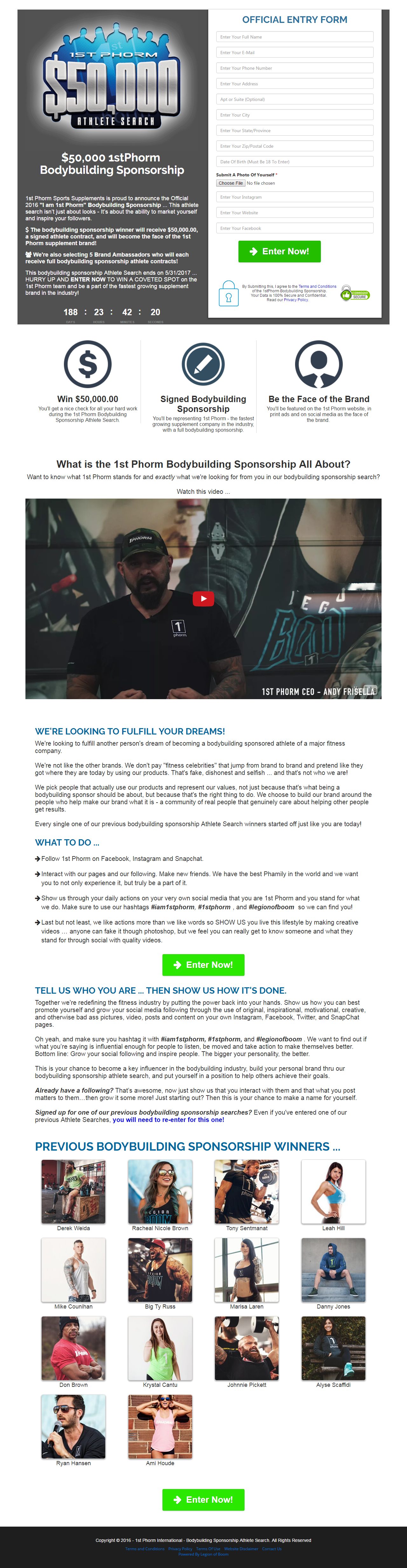 1st Phorm looking to fulfill another persons dream of becoming a – Athlete Sponsorship Contract