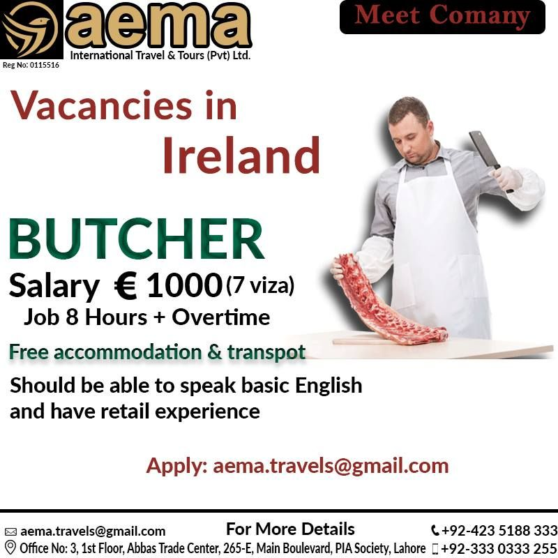 Aema International Travel Tours Vacancies In Ireland Butcher