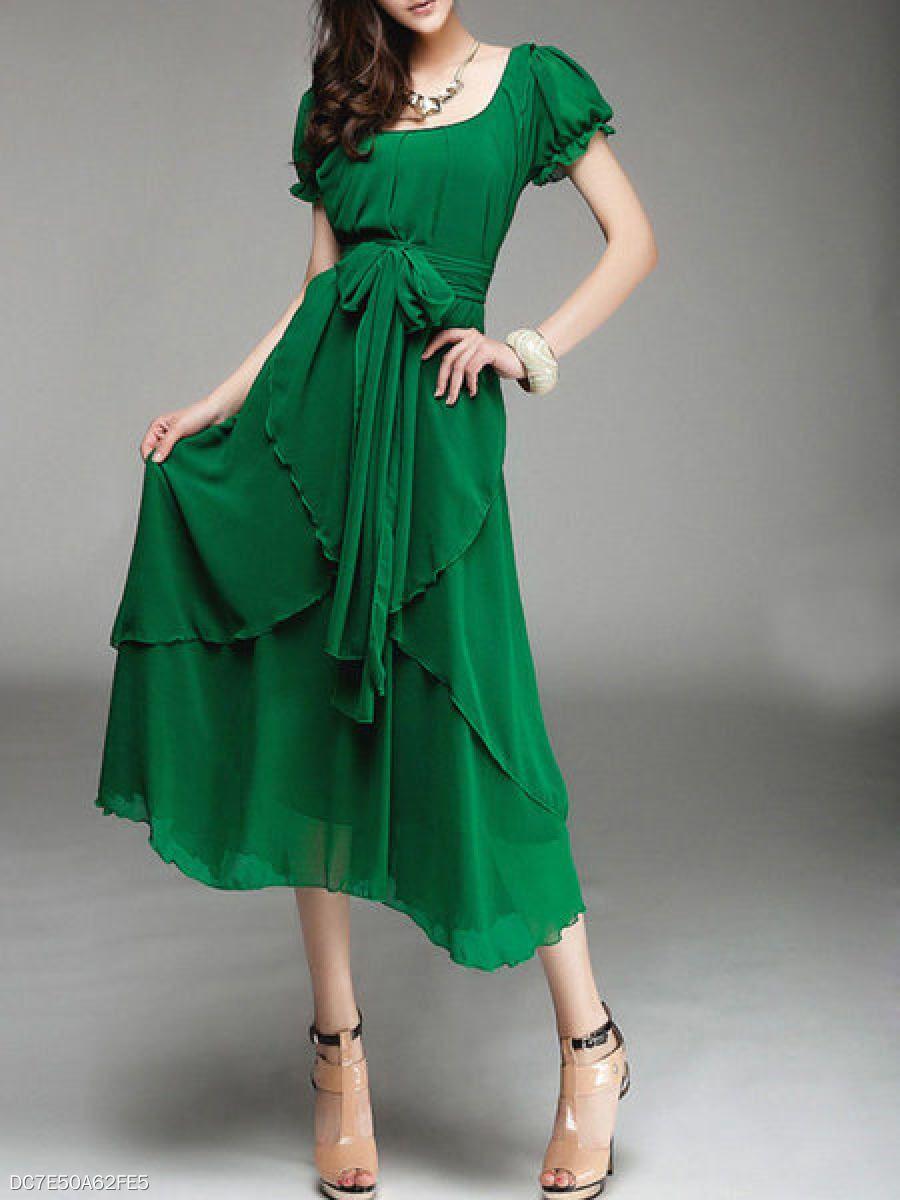 Square Neck Asymmetric Hem Belt Plain Puff Sleeve Maxi Dresses Berrylook Com Maxi Dress With Sleeves Short Sleeve Maxi Dresses Green Chiffon Dress [ 1200 x 900 Pixel ]