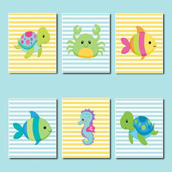 Sea Animals Nursery Wall Art, Nautical Nursery Decor, Ocean Animals