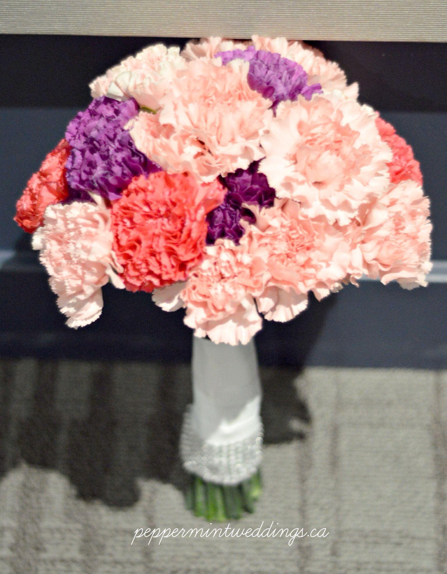 Purple Light Pink And Medium Carnation Wedding Bouquet Mix Stunning Beautiful