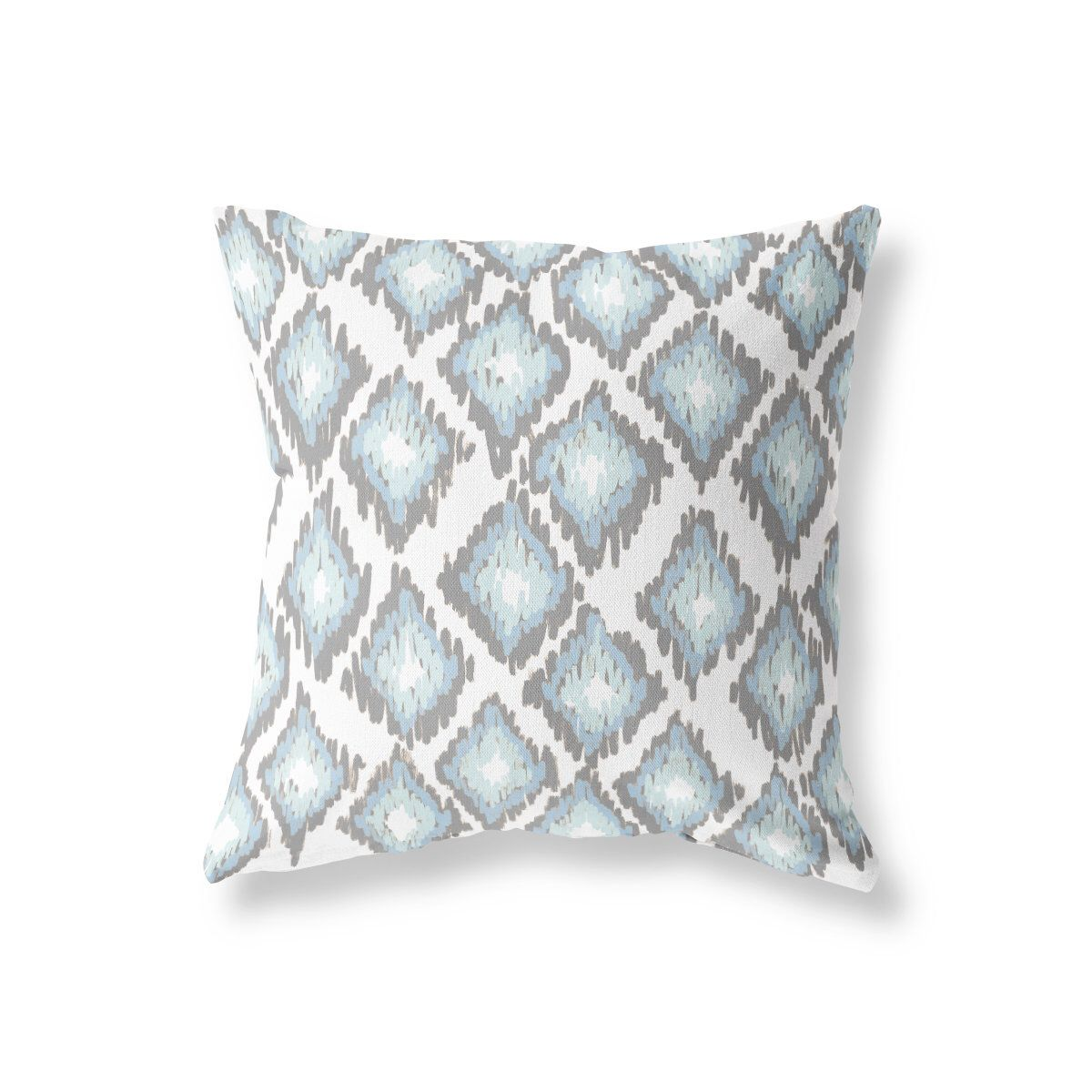 Blue Gray Ikat Throw Pillow Geometric Decorative Pillow Housewarming Gift 18x18 16x Pillows Decorative Patterns Unique Decorative Pillows Geometric Pillow