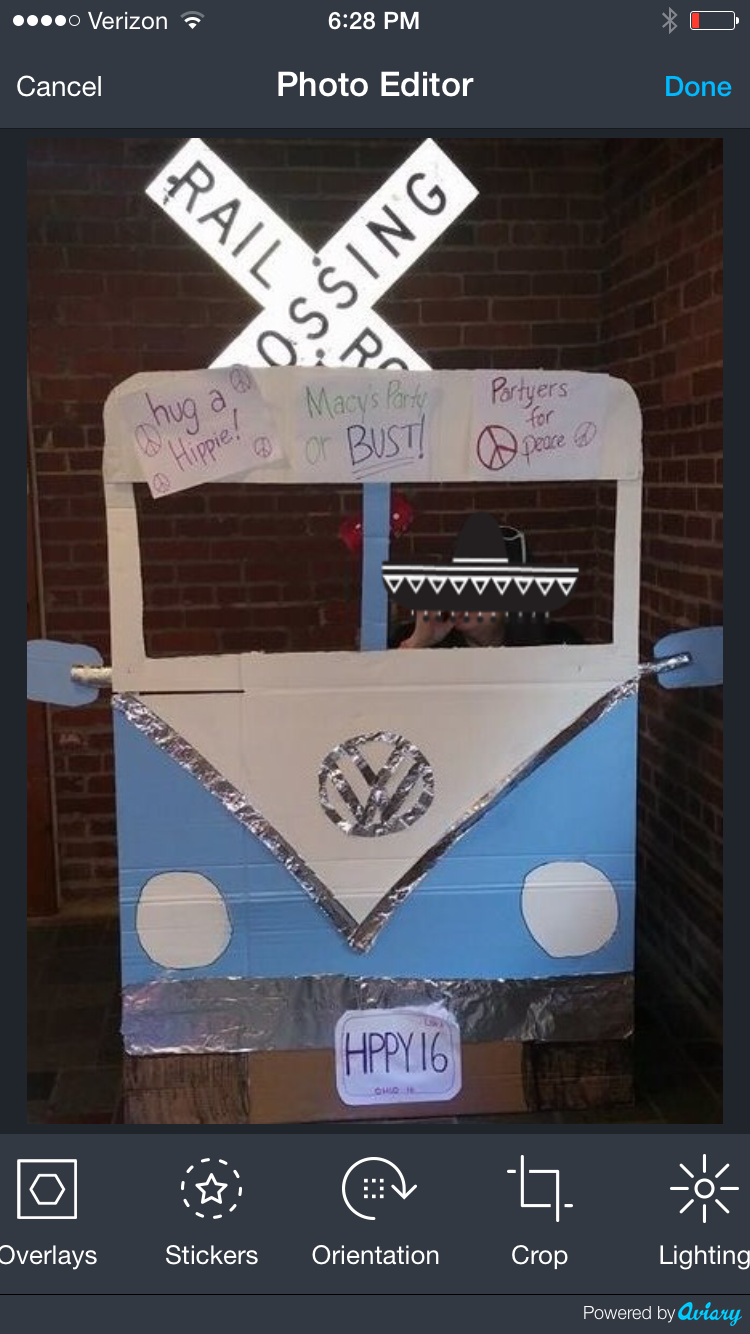 DIY VW bus photo prop for vintage rock sweet 16 party Made ...