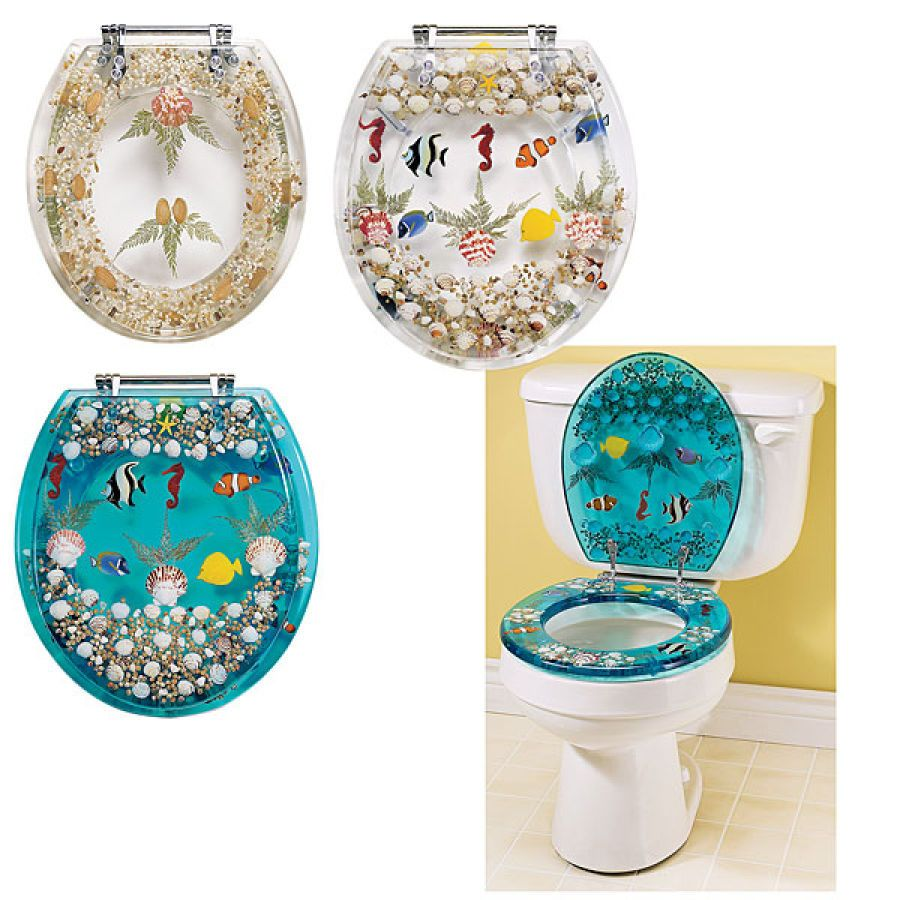 Clear Seashell And Fish Toilet Seat   Best Selling Gifts, Clothing,  Accessories, Jewelry