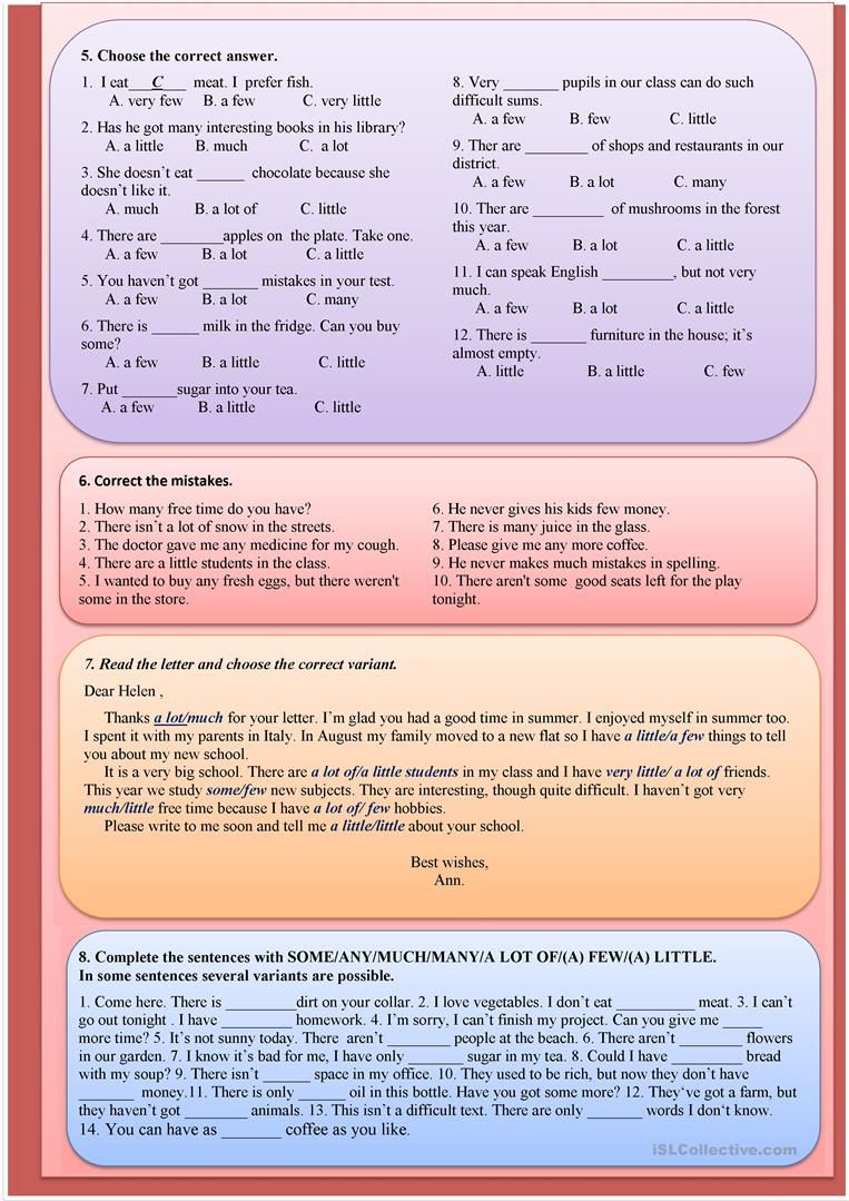 SOME/ANY/MUCH/MANY/A LOT OF/(A) FEW/(A) LITTLE worksheet - Free ESL ...