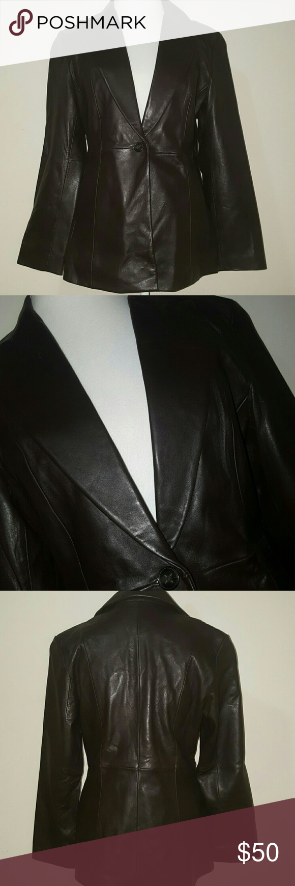 JLC, OUTERWEAR LEATHER COAT/BLAZER JLC , OUTERWEAR, BROWN LEATHER COAT/BLAZER FRONT POCKETS  GENTLY WORN! MINOR WEAR ON BOTTOM LEFT LOWER SLEEVE AS SHOWN IN PICS  GREAT FOR EARLY FALL AND SPRING. JLC Jackets & Coats