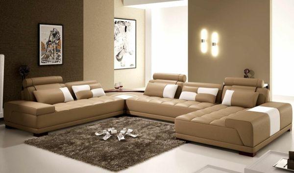 Moderne ledercouch  moderne wandfarben beige ledersofas | Kinderzimmer – Babyzimmer ...