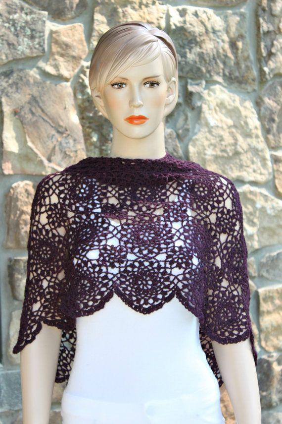 Wine Crochet Poncho-Capelet by CasadeAngelaCrochet on Etsy   Crochet ...