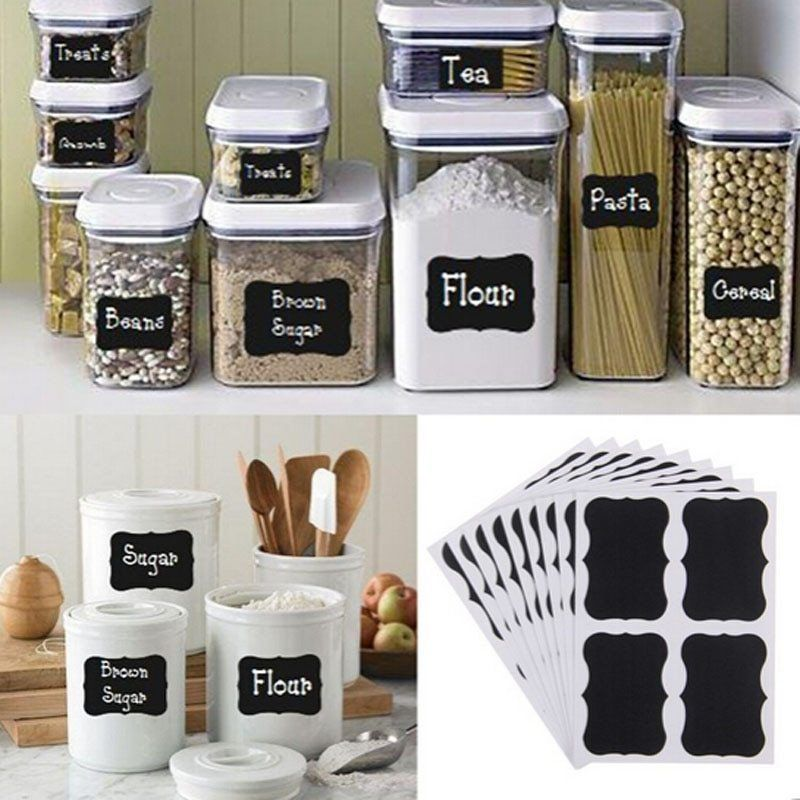 36pcs Removable Chalk Board Blackboard Sticker Kitchen Wall Jar Labels Tags hot