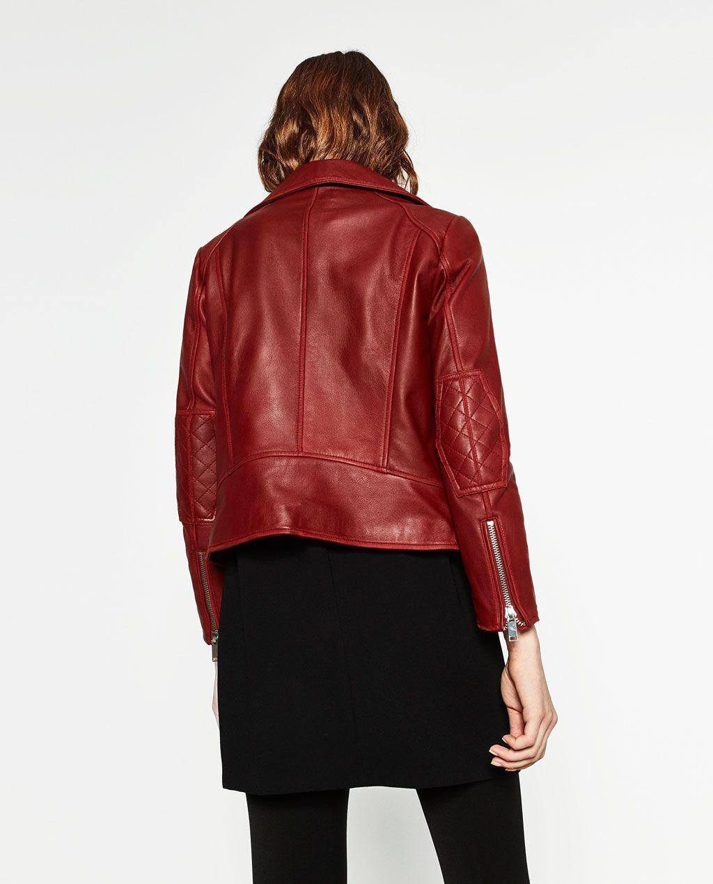 Blouson cuir rouge femme zara