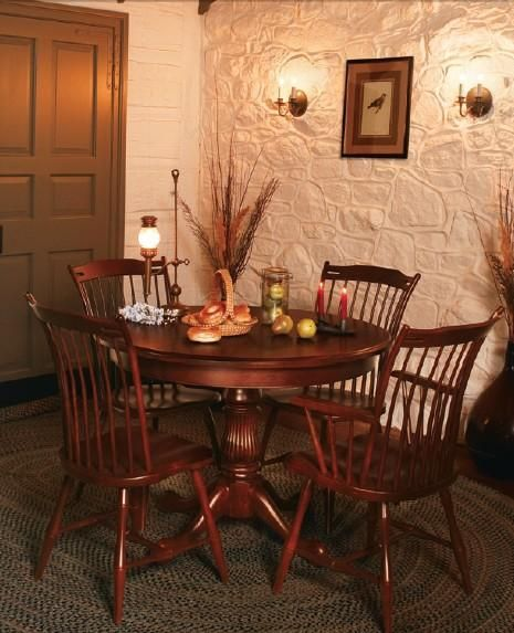 Cherry Wood Dining Room Furniture: Amish Round Kingstown Single Pedestal Dining Table