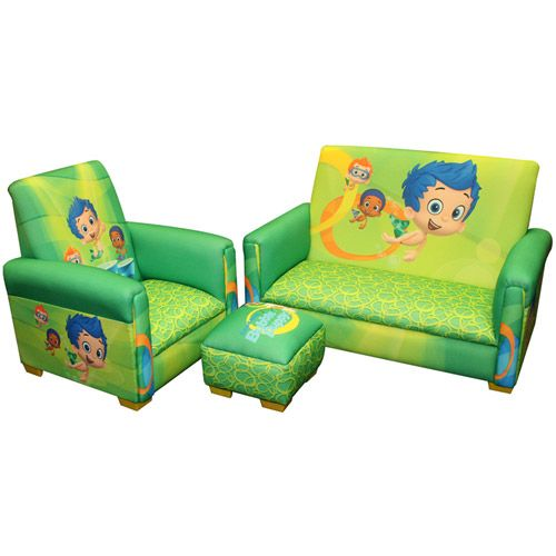 Nickelodeon Bubble Guppies Fintastic Toddler 3 Piece Sofa, Chair And  Ottoman Set