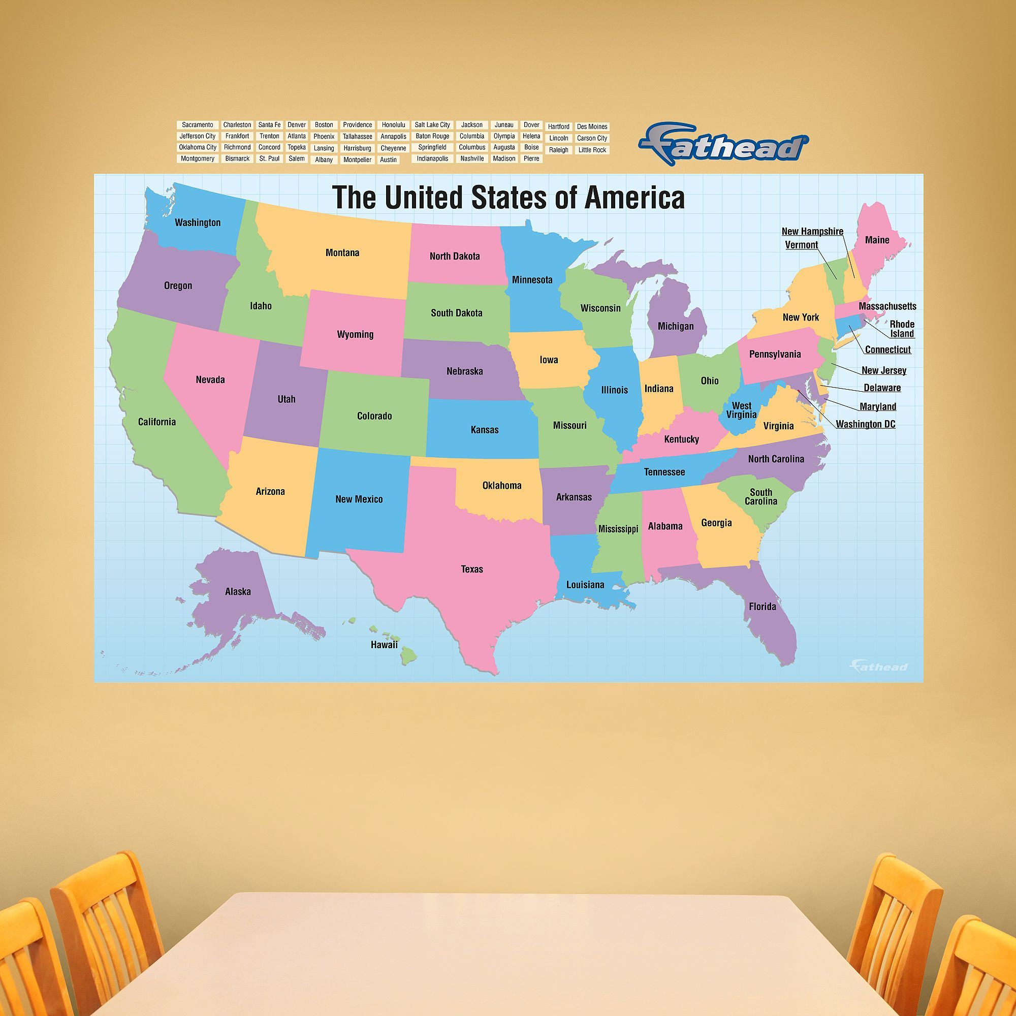 Photo of Dry Erase: USA Map With Removable Capital Names – Huge Removable Wall Graphic Wall Decal | Shop Fathead® for Dry Erase Whiteboards