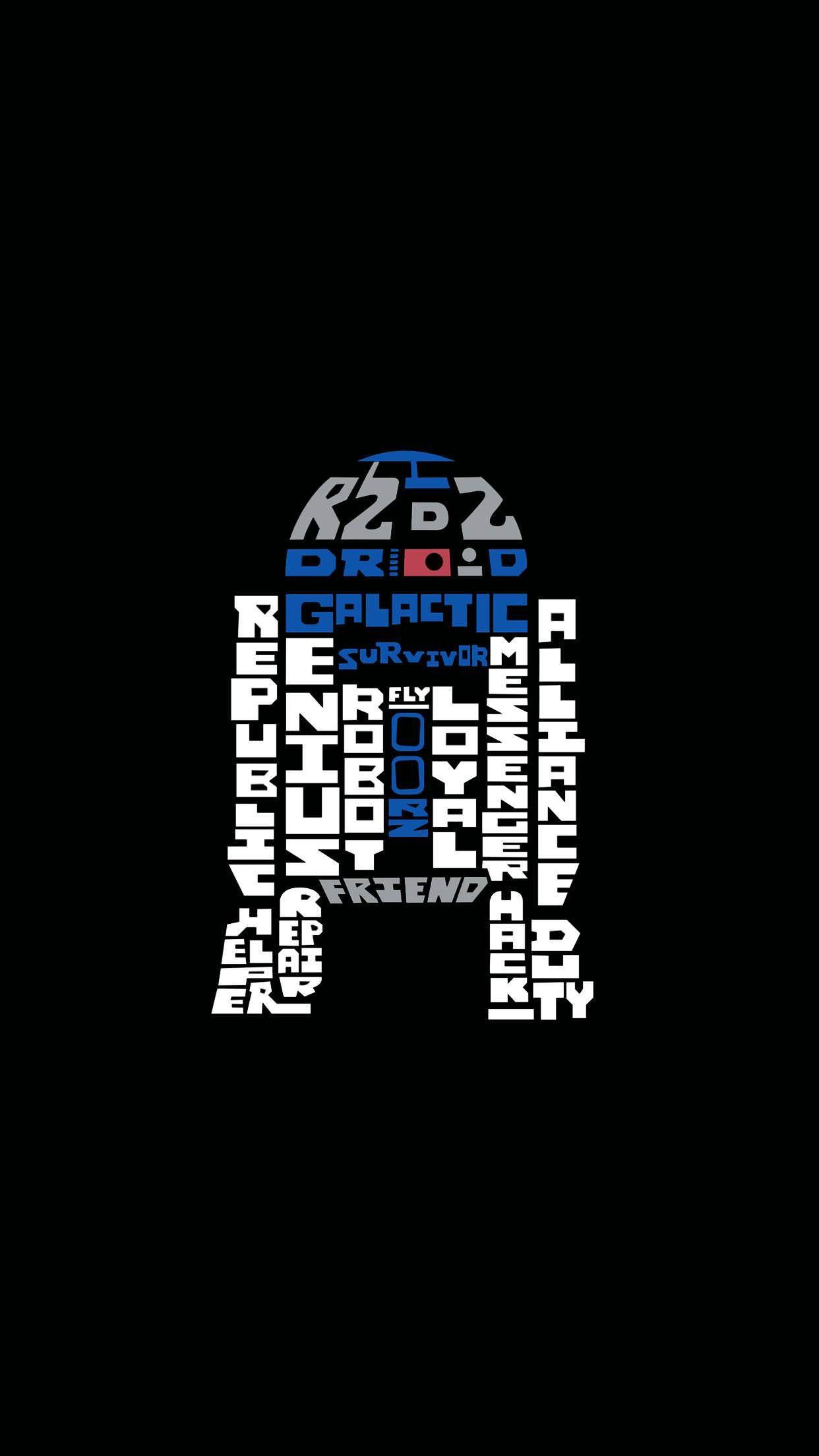 スター ウォーズ フォースの覚醒 R2 D2のタイポグラフィ スター