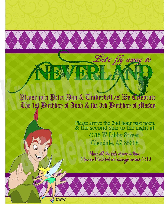 NEVERLAND PETERPAN INVITATION- Krown Kreations & Celebrations. $5.00 ...