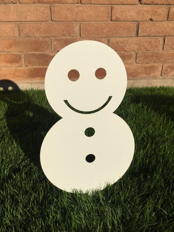 Snowman  02  Metal Yard Art Christmas Lawn by WhitingIron on Etsy