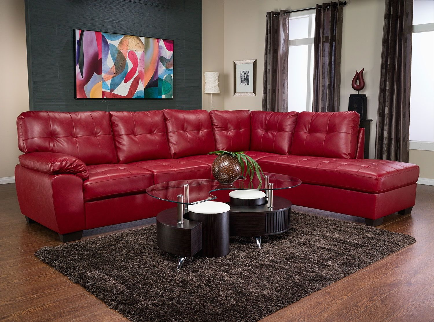 Tobi Bonded Leather Right Facing Sectional Red The Brick Red