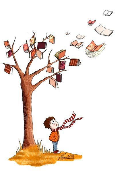 A tree with books for leaves flying away upwards towards the sun with a young boy standing under it watching the books.