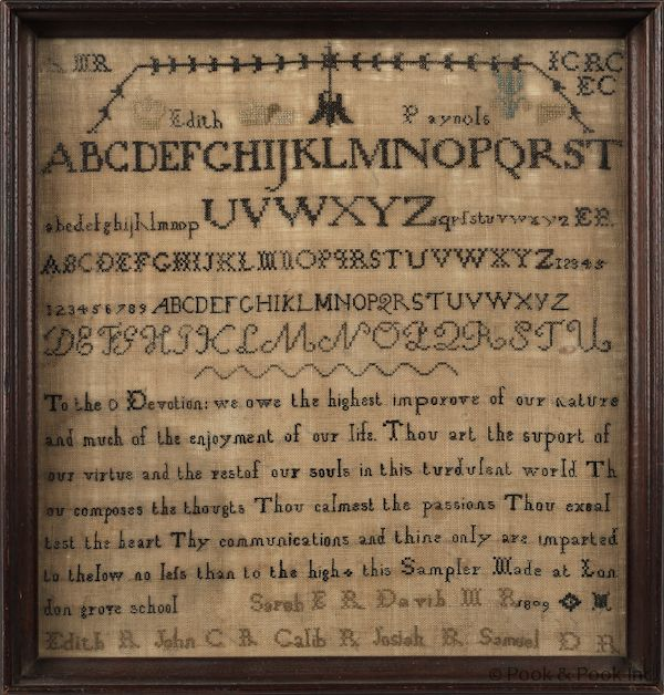 1809 PA Quaker School Sampler