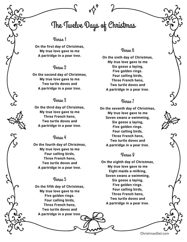 Free printable lyrics for The Twelve Days of Christmas
