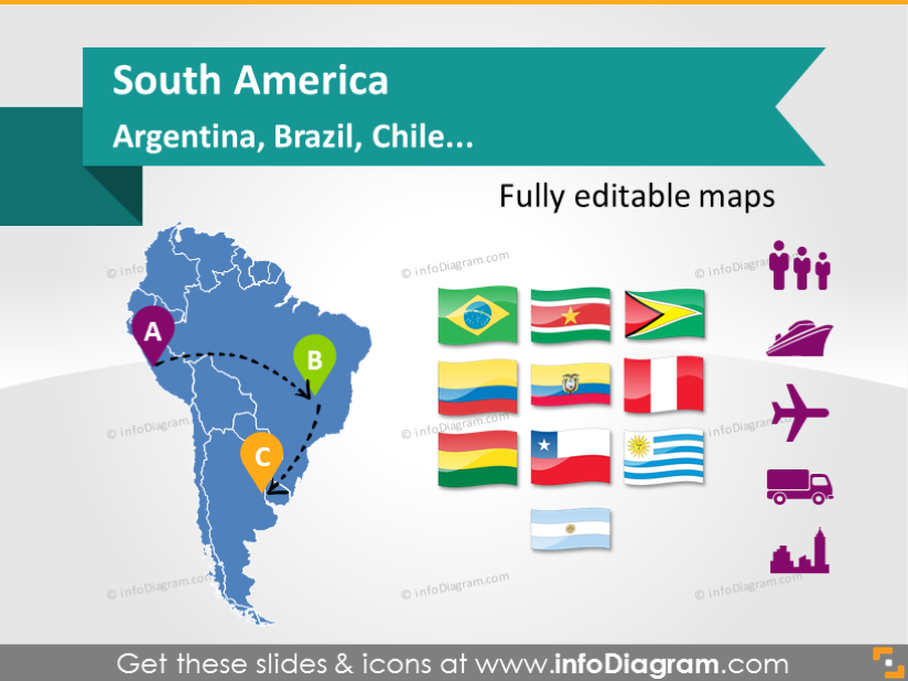 Maps of south america countries ppt icons population gdp maps of south america countries brasil peru chile argentina ppt flags icons population gdp transport powerpoint template theme toneelgroepblik Images