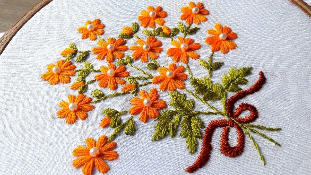 Hand Embroidery   satin stitch   flower design by nakshi katha ...