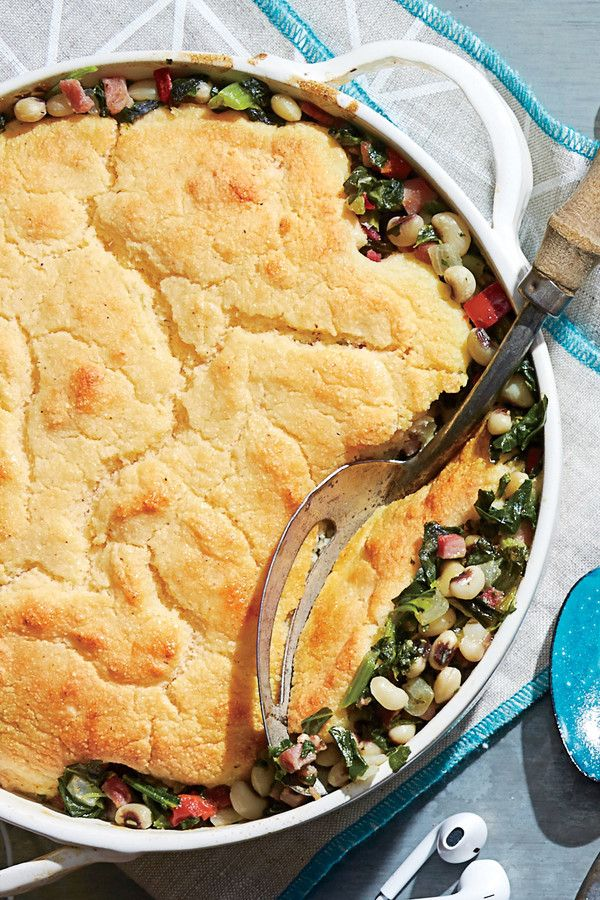 Ham-and-Greens Pot Pie with Cornbread Crust (00s) - 50 Years of Southern Recipes - Southernliving. From bacon to carnitas to BBQ, pork has hit prime time nationally. This recipe featuring ham and the Southern staples greens and cornbread continues to be a go-to dinner for our food editors.  Recipe: Ham-and-Greens Pot Pie with Cornbread Crust
