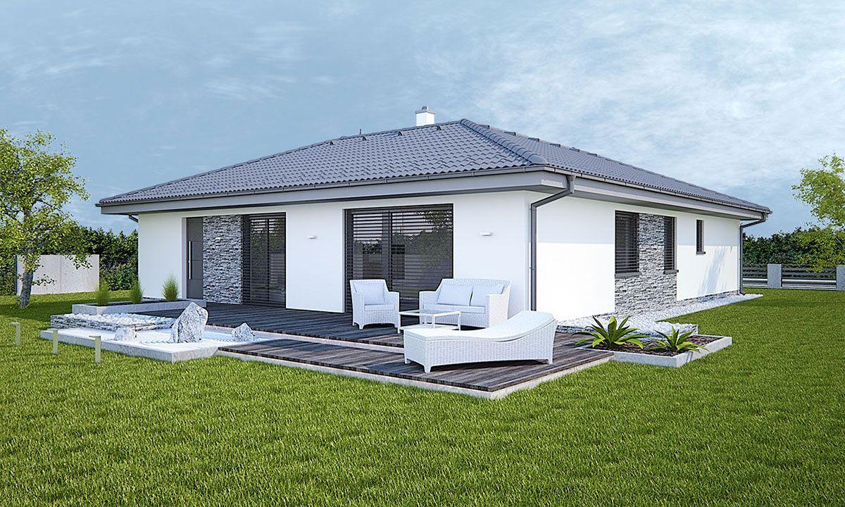 citole Projekty domov bungalov so šikmou strechou do tvaru L s ...