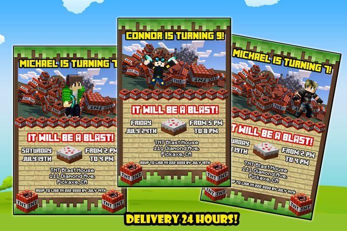 Minecraft TNT Invitation Minecraft Game Invitation Birthday - Minecraft spiele mit tnt