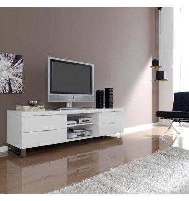Mesa De Television En Laca Blanca Ma04 Tv602 Muebles Tv Unit