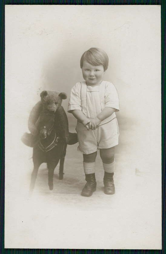 Teddy Bear Riding Toy Horse Child Original Old 1910s Real Photo Postcard | eBay