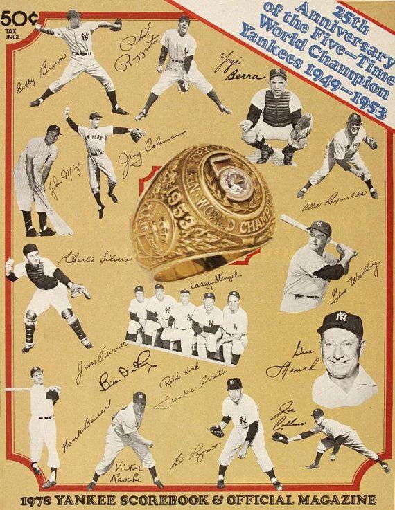 1978 NEW YORK YANKEES - Vintage Baseball Poster   Baseball posters ...