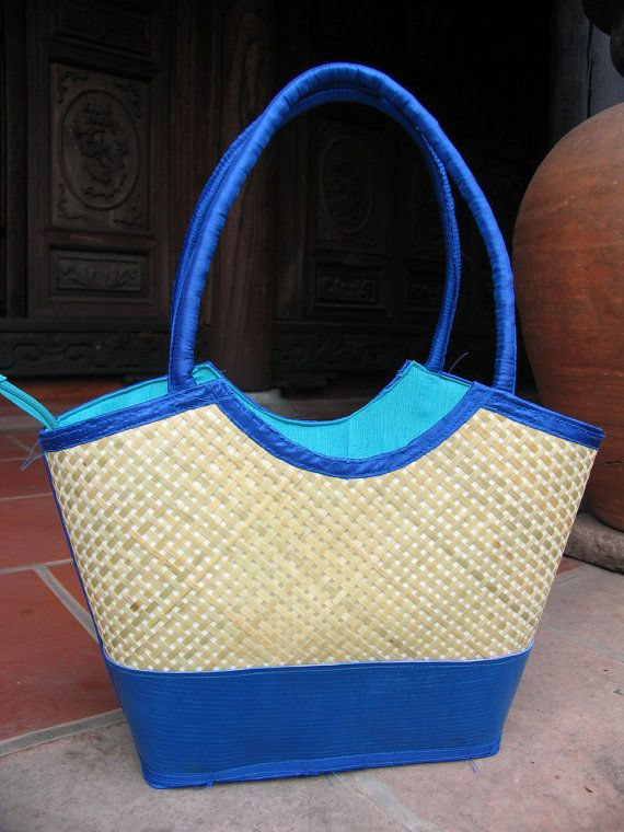 e31ad0890069 Items similar to Upcycled Layflat and Bamboo bag with Fabric Handle on Etsy