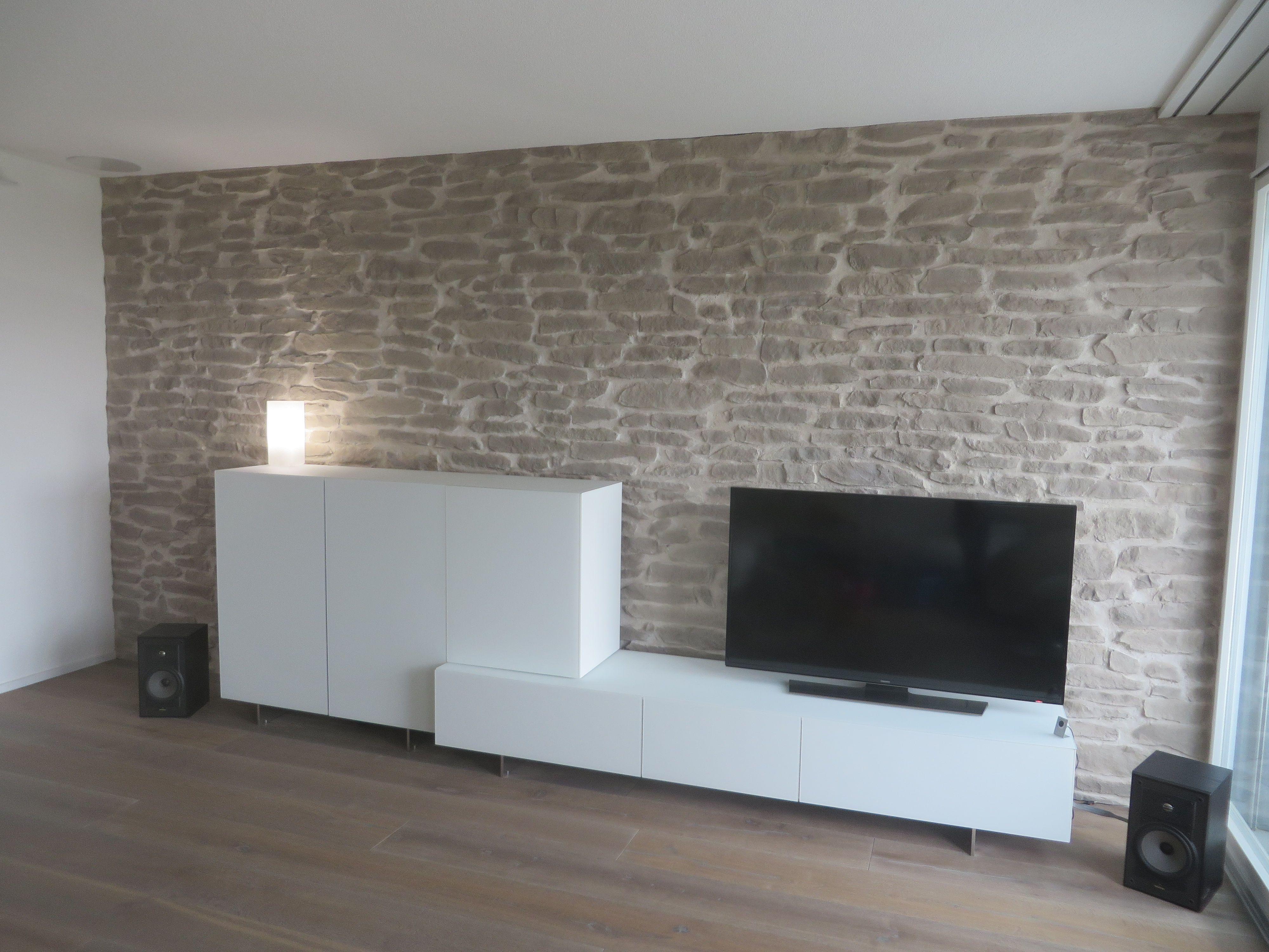 Wohnzimmerwand Steinoptik Lajas  Wohnzimmer  Wandgestaltung