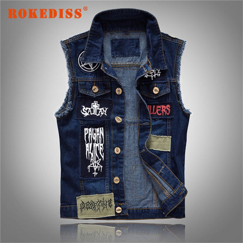 8729ee2bebf762 New Men s Denim Vest Patch Designs Sleeveless Jean Jacket Men Punk Rock  Singer Costume Men Motorcycle