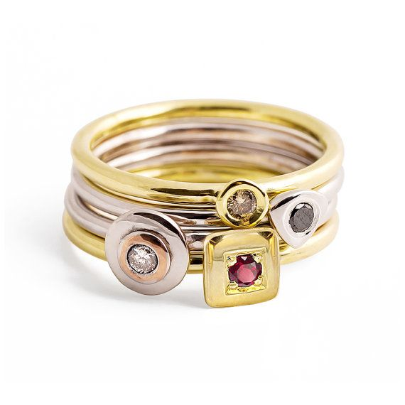 AMORE Thin Stacking Rings Gold Stacking Rings Delicate by arosha, $1400.00